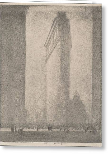 Flat Iron Building Greeting Cards - The Flat Iron New York Greeting Card by Joseph Pennell