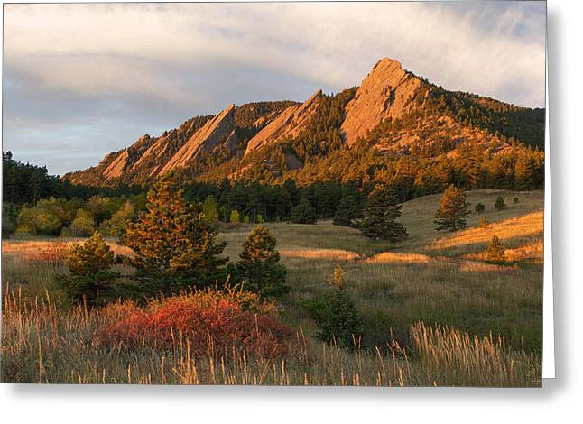 Longmont Greeting Cards - The Flatirons - Autumn Greeting Card by Aaron Spong