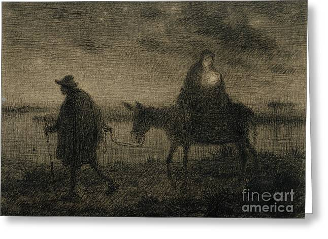 The Flight Into Egypt Greeting Card by Jean Francois Millet