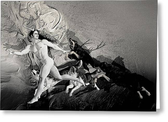 Transformations Mixed Media Greeting Cards - The flight of Actaeon by Quim Abella Greeting Card by Joaquin Abella