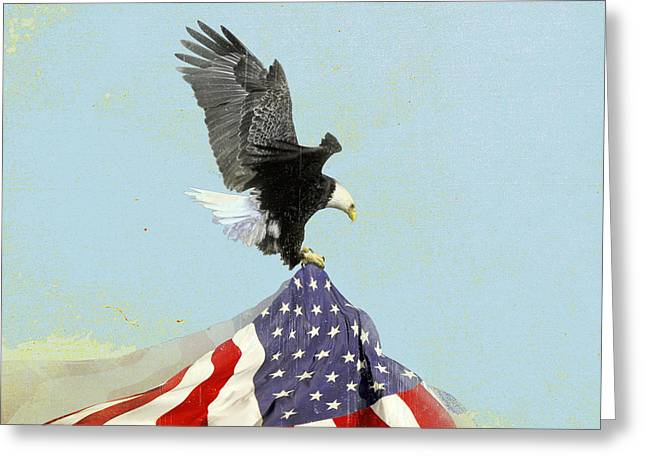 80s Greeting Cards - The Flight Vintage Americana Greeting Card by Filippo B