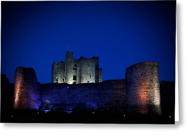 The Flood Lit Walls Of Trim Casle Greeting Card by Panoramic Images