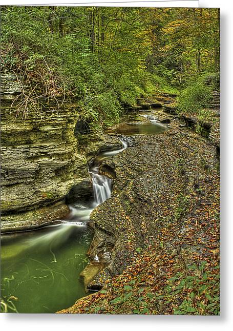 Buttermilk Falls Greeting Cards - The Flow Greeting Card by Evelina Kremsdorf