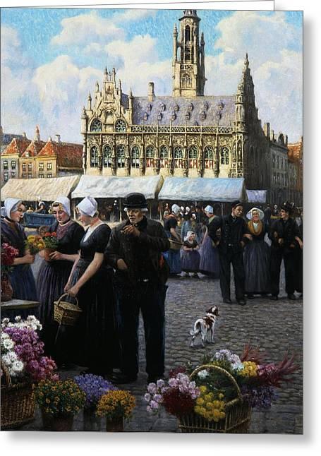 The Flower Market In Middelburg Greeting Card by Henri Houben