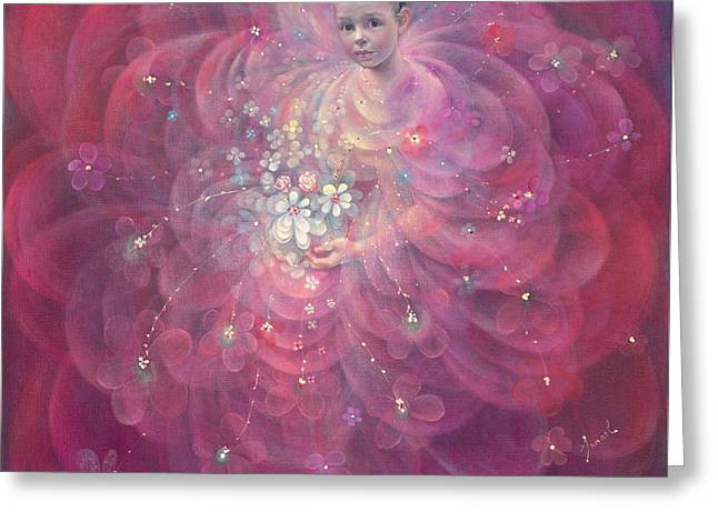 Flower Pink Fairy Child Greeting Cards - The Flower of Childhood Greeting Card by Annael Anelia Pavlova