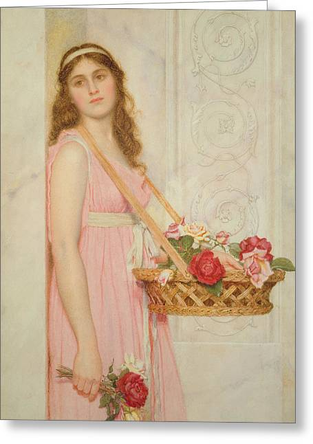 Recently Sold -  - Rose Petals Greeting Cards - The Flower Seller Greeting Card by George Lawrence Bulleid