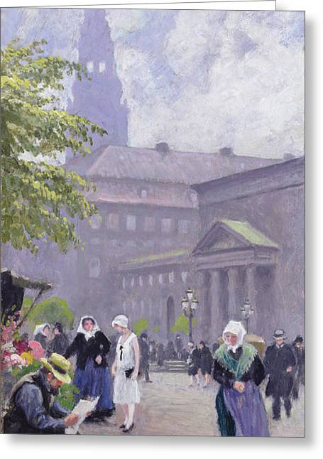 Shopper Greeting Cards - The Flower Seller Greeting Card by Paul Fischer
