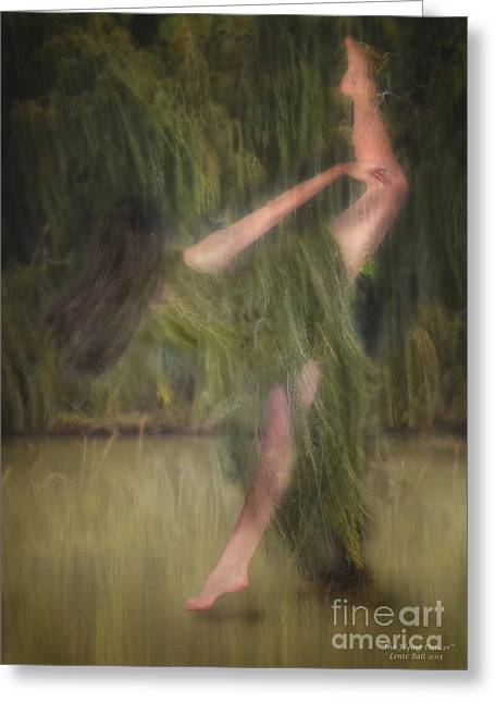 Willow Lake Greeting Cards - The Flying Dancer Greeting Card by Lente Balt