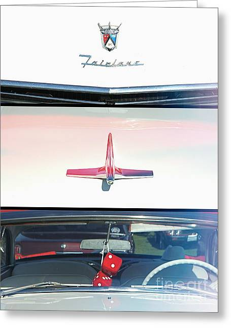 Collector Hood Ornament Greeting Cards - The Flying Ford Fairlane Greeting Card by Melissa  Reese Peterson