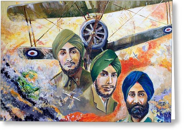 Ww1 Greeting Cards - The Flying Sikhs Greeting Card by Sarabjit Singh