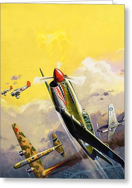 The Flying Tigers During The Spanish Civil War Greeting Card by Severino Baraldi