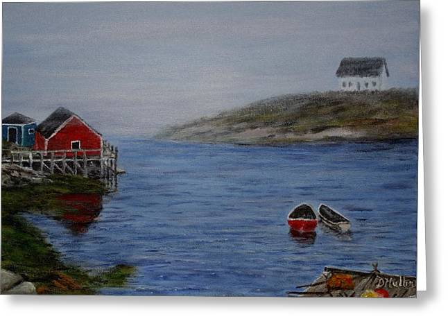 Shack Greeting Cards - The fog rolling into Peggys Cove Greeting Card by Donna Muller