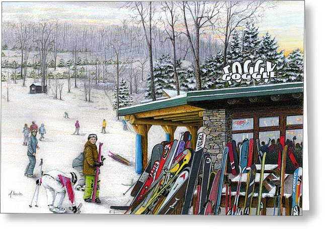 Winter Scenery Greeting Cards - The Foggy Goggle at Seven Springs Greeting Card by Albert Puskaric
