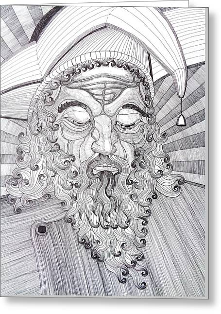 Religious Canvas Prints Drawings Greeting Cards - The Fool The King Original Black and White Pen Art By Rune Larsen Greeting Card by Rune Larsen