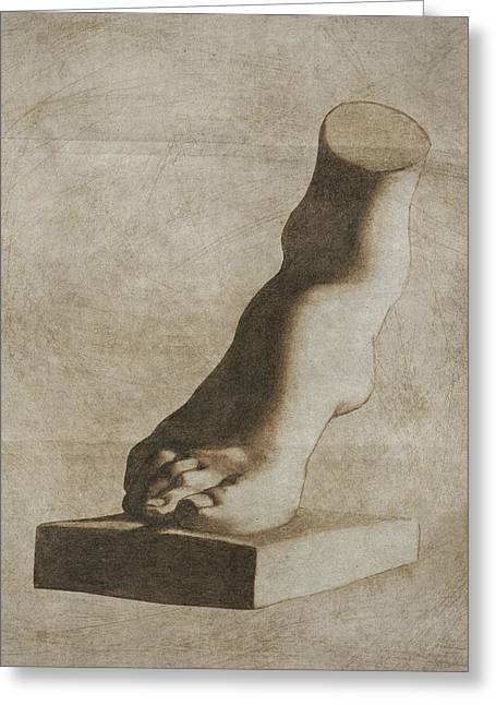 Feet Greeting Cards - The foot of the Medici Venus - sepia Greeting Card by Stevie The floating artist