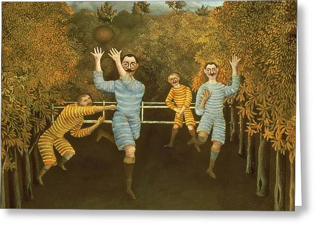 Mustaches Paintings Greeting Cards - The Football players Greeting Card by Henri Rousseau