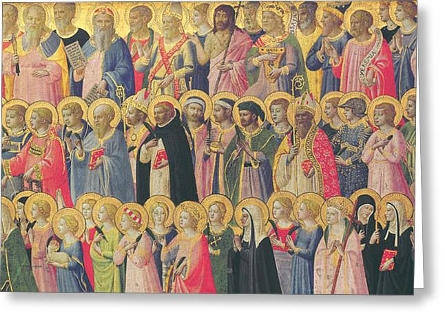 Christianity Greeting Cards - The Forerunners of Christ with Saints and Martyrs Greeting Card by Fra Angelico
