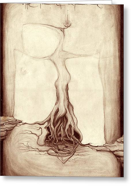 Tree Roots Drawings Greeting Cards - The Forest Doctrine Greeting Card by Outrega Anderson