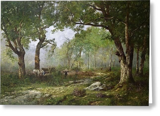 Horse And Cart Paintings Greeting Cards - The Forest of Fontainebleau Greeting Card by Leon Richet