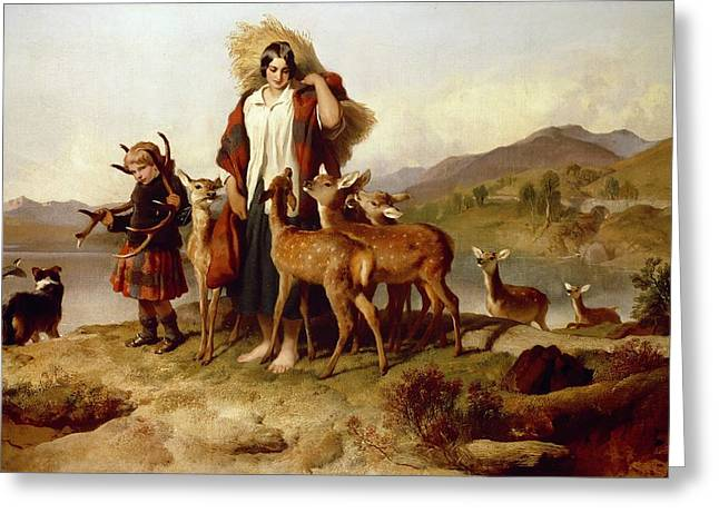 The Forester's Family Greeting Card by Sir Edwin Landseer