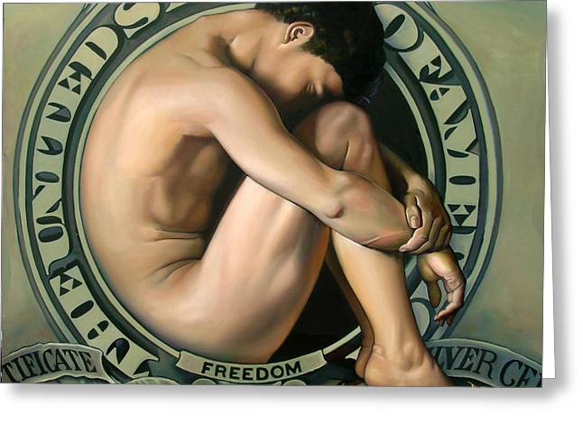 Political Paintings Greeting Cards - The FORFEIT of FREEDOM Greeting Card by Patrick Anthony Pierson