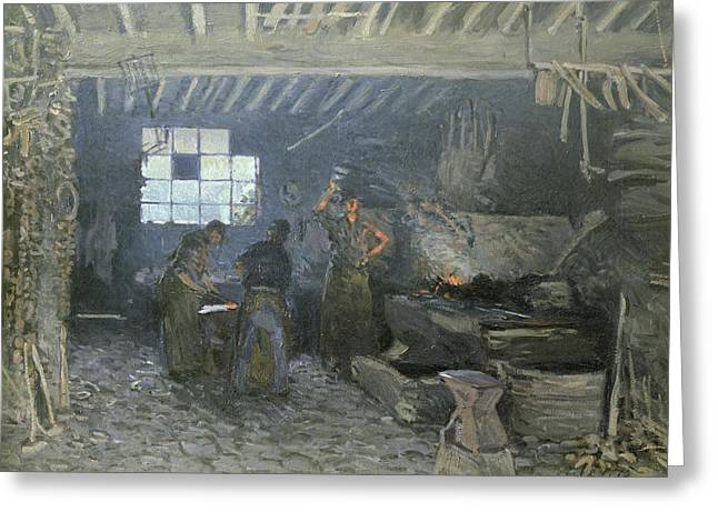 Metalwork Greeting Cards - The Forge Greeting Card by Alfred Sisley