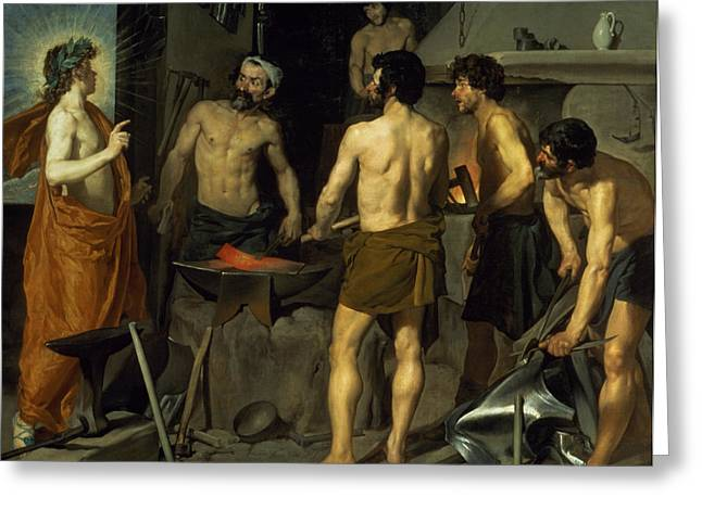 Hot Iron Greeting Cards - The Forge of Vulcan Greeting Card by Diego Velazquez
