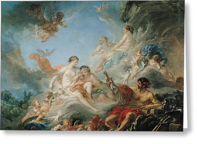Boucher; Francois (1703-70) Greeting Cards - The Forge of Vulcan Greeting Card by Francois Boucher