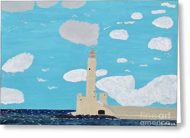 Old Roadway Paintings Greeting Cards - The Forgotten Lighthouse Greeting Card by Dennis ONeil