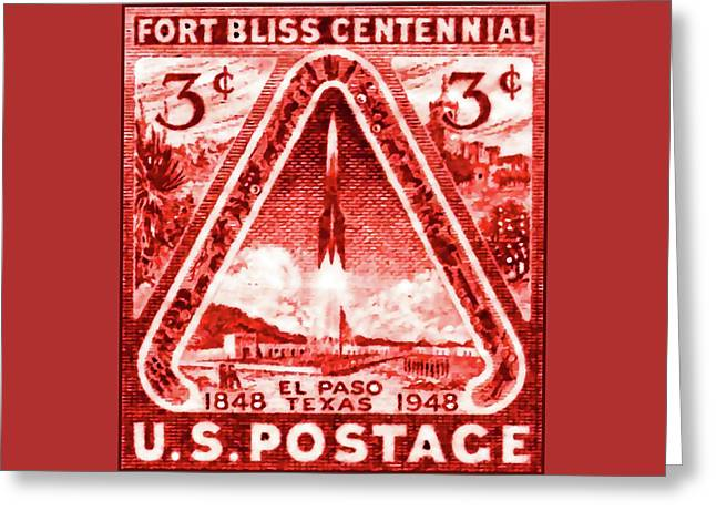 Racquet Paintings Greeting Cards - The Fort Bliss stamp Greeting Card by Lanjee Chee