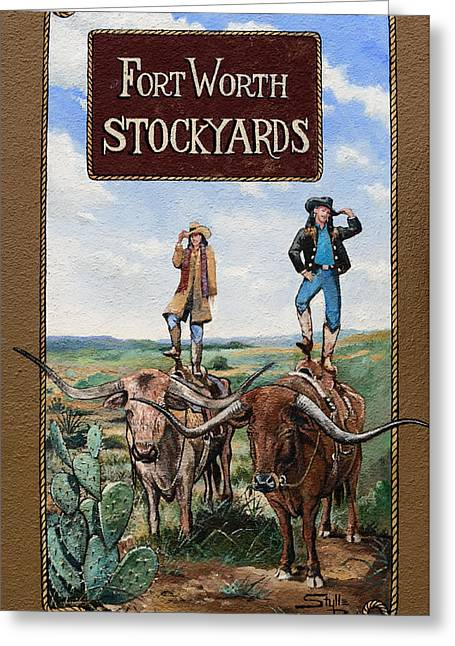 Art Of Building Greeting Cards - The Fort Worth Stockyards  Greeting Card by Stulle Read