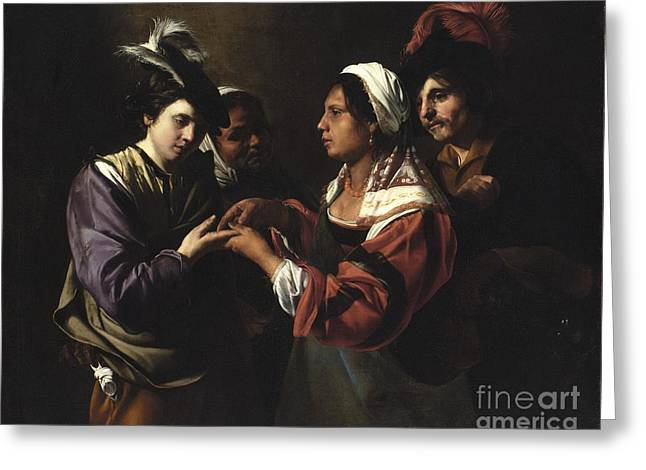 The Fortune Teller Greeting Card by Bartolomeo Manfredi