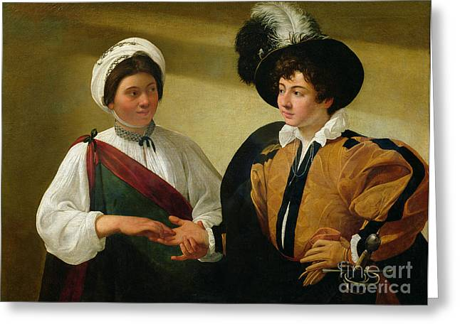 Michelangelo Caravaggio Greeting Cards - The Fortune Teller Greeting Card by Michelangelo Merisi da Caravaggio