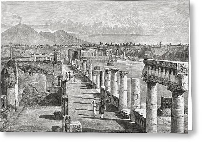 Naples Drawings Greeting Cards - The Forum, Pompeii, Naples, Italy In Greeting Card by Ken Welsh