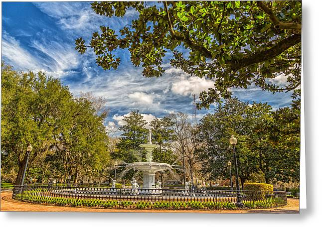 Abercorn Greeting Cards - The Fountain at Forsyth Greeting Card by A Different Brian Photography