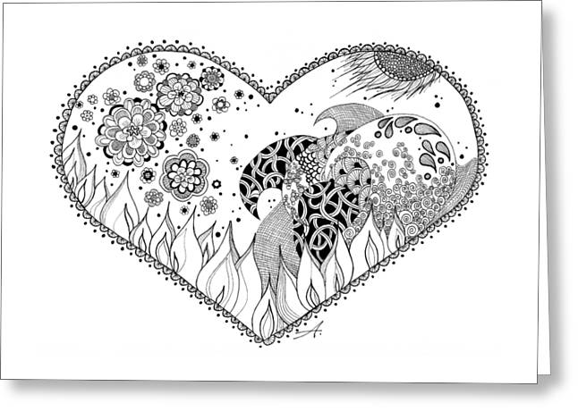 Ink Drawing Greeting Cards - The Four Elements Greeting Card by Ana V  Ramirez