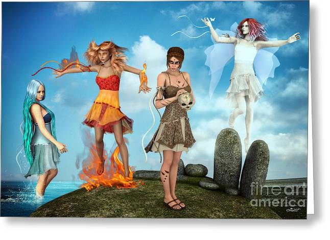 Esotericism Greeting Cards - The Four Elements Greeting Card by Jutta Maria Pusl