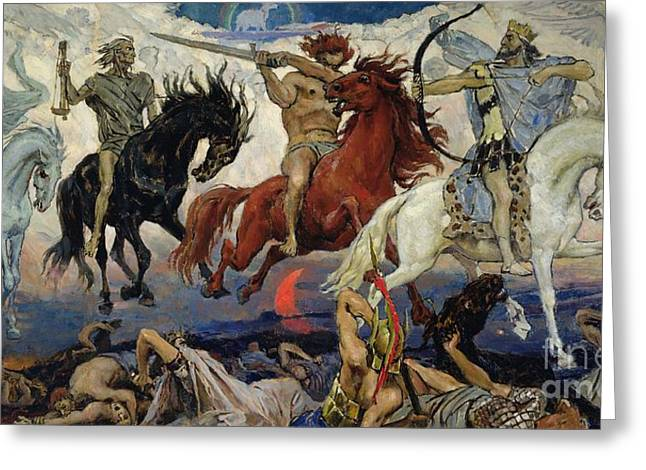 Bible Scene Greeting Cards - The Four Horsemen of the Apocalypse Greeting Card by Victor Mikhailovich Vasnetsov