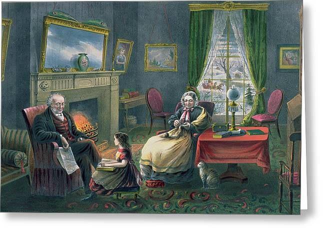 Grandparent Greeting Cards - The Four Seasons of Life  Old Age Greeting Card by Currier and Ives