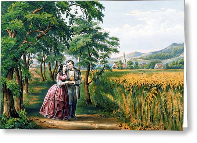 Newlyweds Greeting Cards - The Four Seasons of Life  Youth  The Season of Love Greeting Card by Currier and Ives