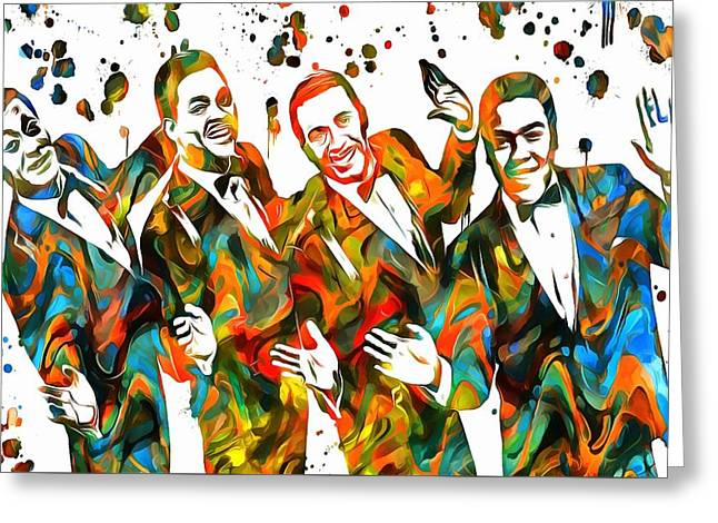 Rhythm And Blues Mixed Media Greeting Cards - The Four Tops Paint Splatter Greeting Card by Dan Sproul