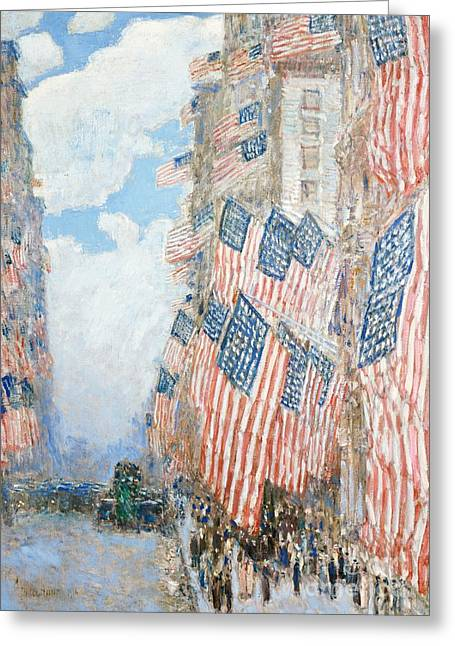 American Flags Greeting Cards - The Fourth of July Greeting Card by Childe Hassam