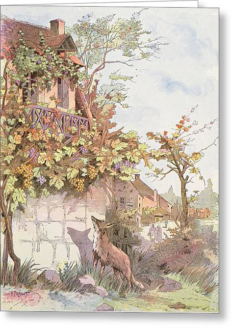 The Fox And The Grapes Greeting Card by Georges Fraipont