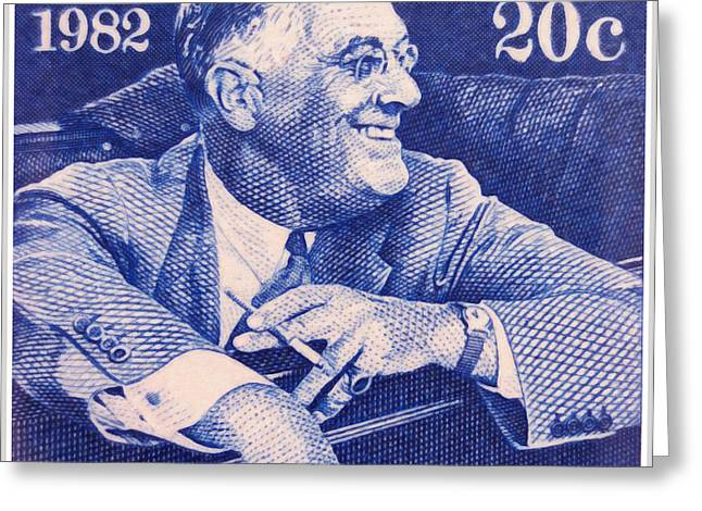 Franklin Roosevelt Paintings Greeting Cards - The Franklin D. Roosevelt stamp Greeting Card by Lanjee Chee