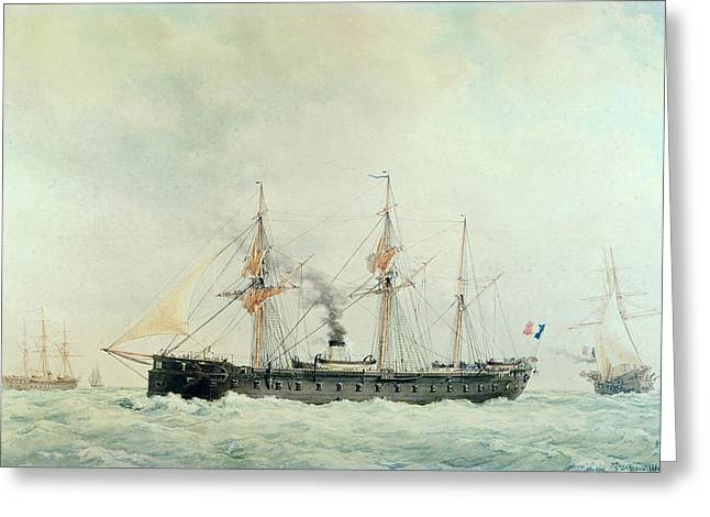 Battle Ship Greeting Cards - The French Battleship Greeting Card by Francois Geoffroy Roux