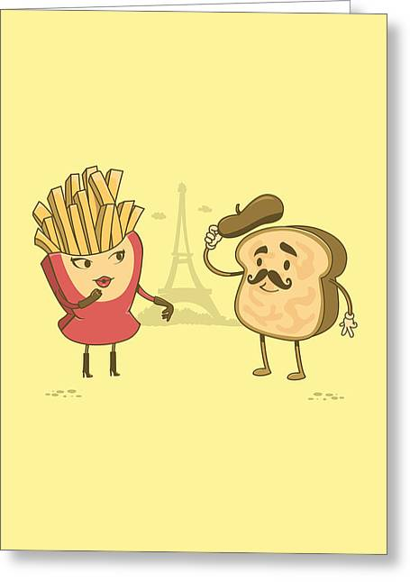 Fries Drawings Greeting Cards - The French Connection Greeting Card by Ana Villanueva