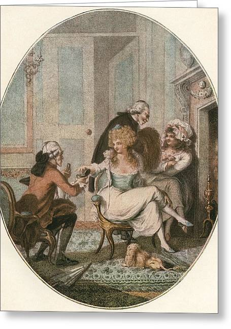 Women. Eighteenth Century Greeting Cards - The French Fireside, After An 18th Greeting Card by Ken Welsh