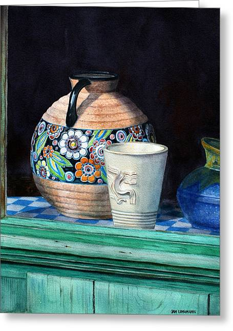 Interior Still Life Greeting Cards - The French Potters Window Greeting Card by Jan Lawnikanis