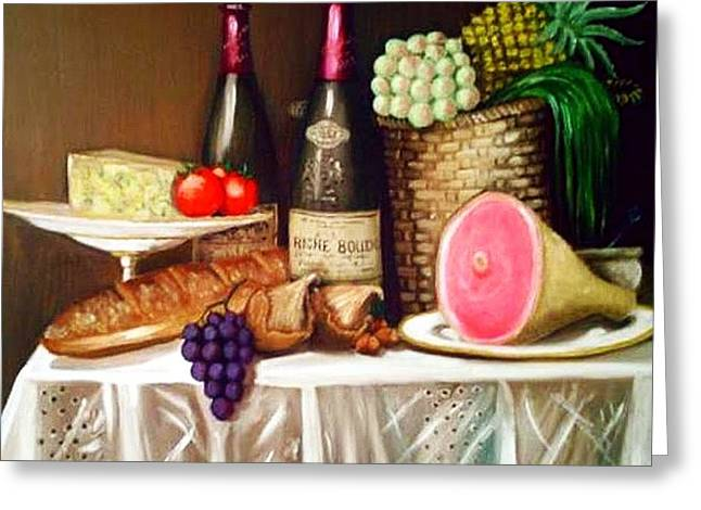 Table Wine Greeting Cards - The Frenchmans Table Greeting Card by Richard F Barber