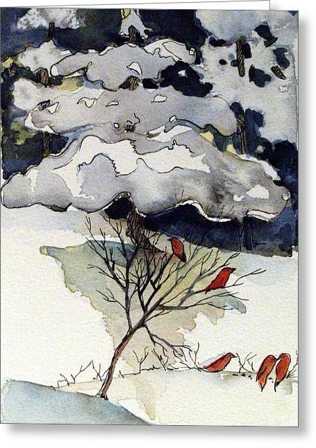 Winter Night Drawings Greeting Cards - The Friendly Pine Tree Watches Greeting Card by Mindy Newman